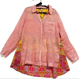 Soft Surroundings floral linen tunic yellow pink